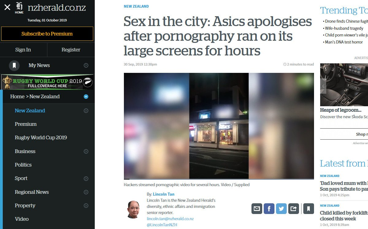 Digital Signage Porno-Vorfall in Aukckland (Foto: Screenshot NZ Hearald)