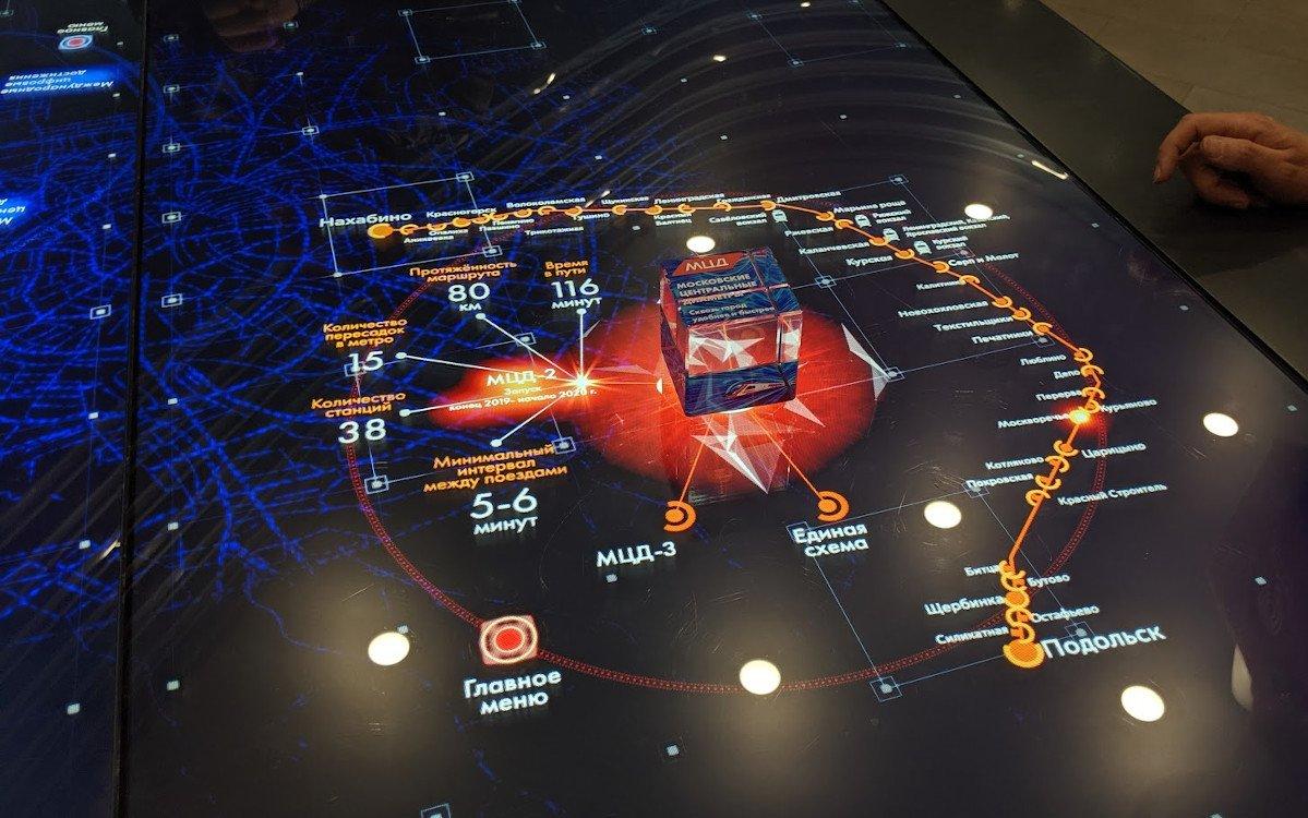 Multitouch Installation - hier lassen sich Informationsebenen auswählen und verschiedene KPIs vergleichen (Foto: invidis)