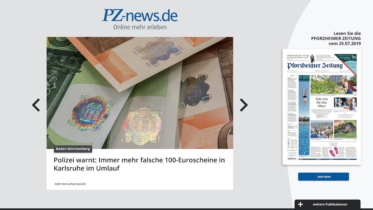 Mehr als nur eine digitale Version des Print-Titels: Auch der aktuelle News Feed wird an den interaktiven Lesestationen angezeigt (Screenshot: von Aichberger & Roenneke Neue Medien GmbH)