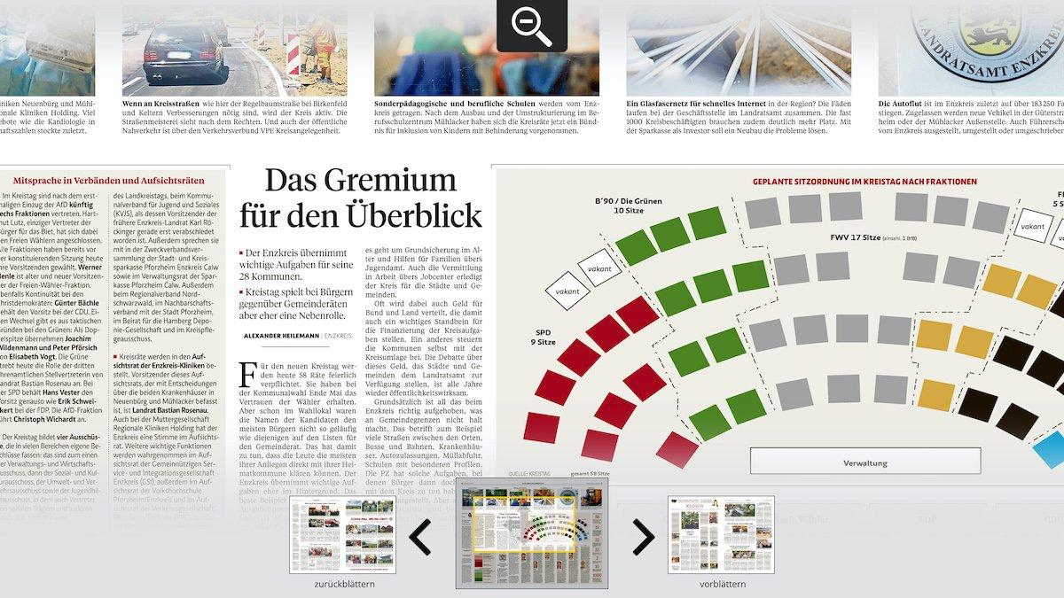 Die Lupenfunktion erlaubt den mühelosen Blick ins Detail oder Kleingedruckte (Screenshot: von Aichberger & Roenneke Neue Medien GmbH)