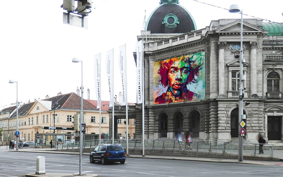 """Eine der drei neuen Bigboard-Flächen – vis-à-vis ist das """"MuseumsQuartier"""" zu sehen (Foto: Epamedia)"""