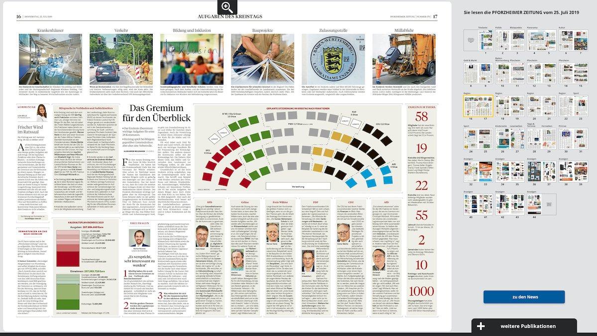 Bedienung via Touch: Wie im Web und auf Papier kann die Zeitung bequem nach Seiten durchforstet werden (Screenshot: von Aichberger & Roenneke Neue Medien GmbH)