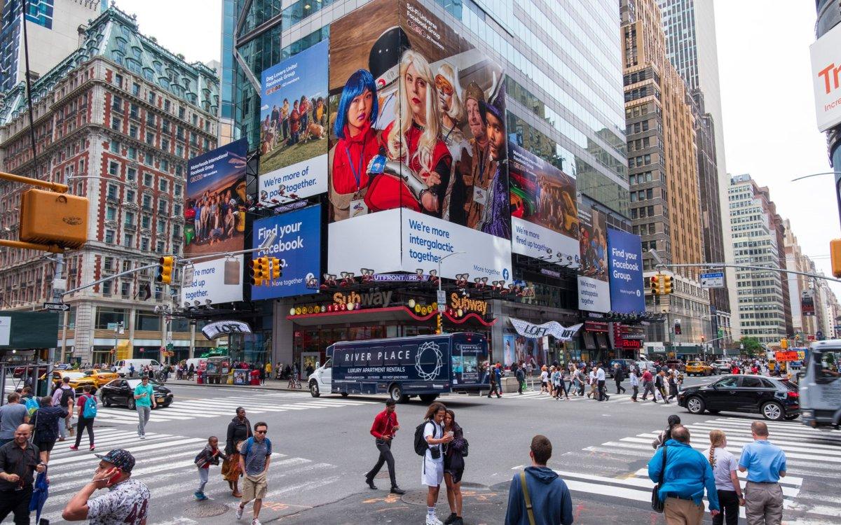 Zum Launch der Facebook Kampagne wurde der TimesSquare belegt (Foto: Facebook)