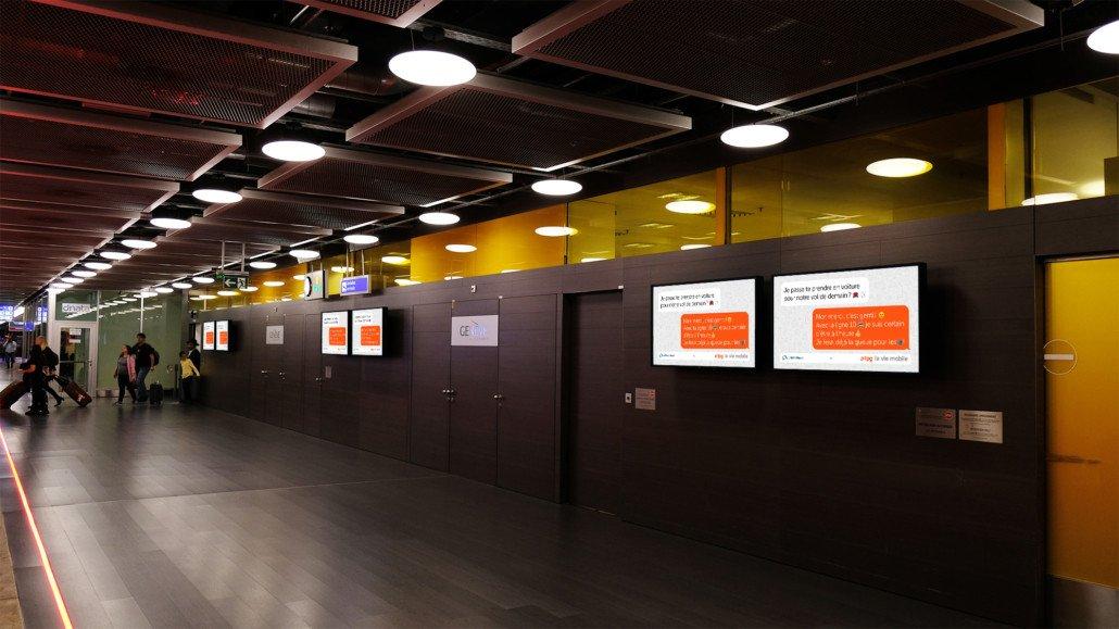 Leman Express Kampagne auf Screens von Neo Advetising in der Westschweiz (Foto: Neo Advertising)