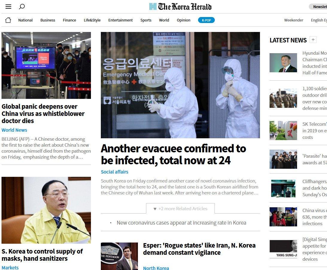 titelseite des Korea Herald von heute morgen (Foto: Screenshot)