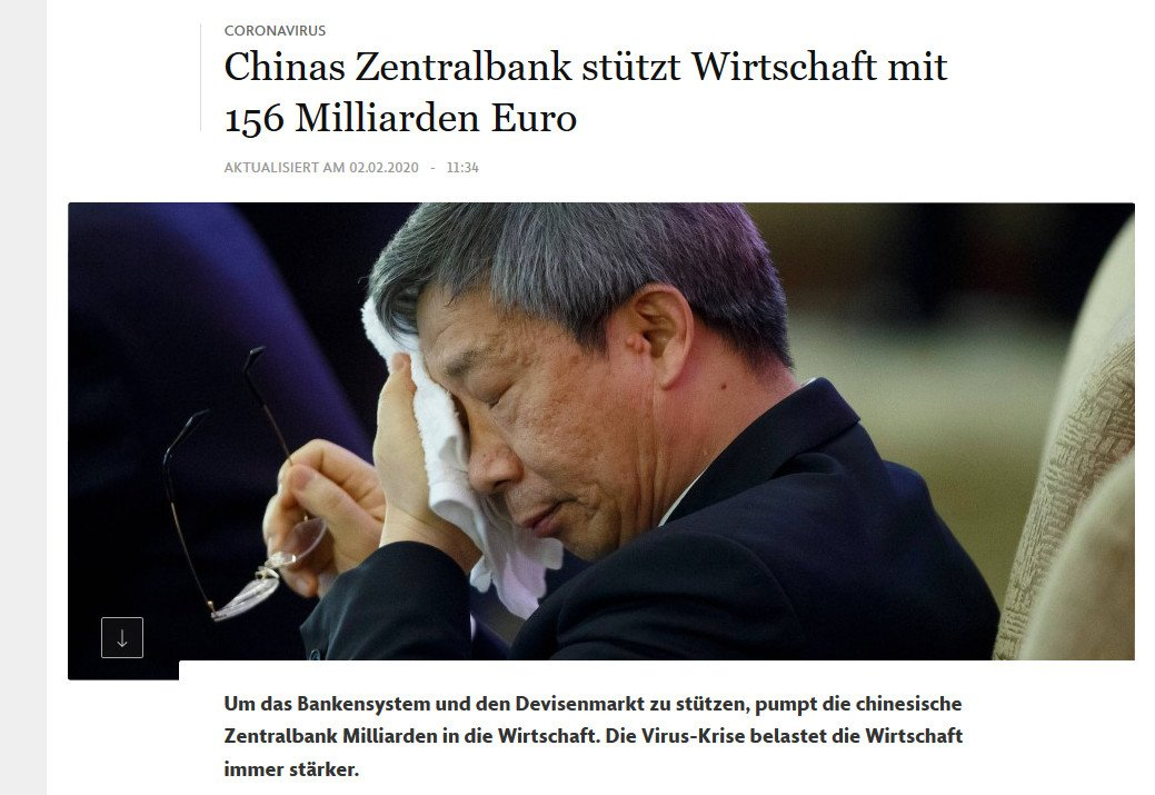 FAZnet: Chinas Zentralbank pumpt 156 Milliarden in das Bankensystem - an einem Tag (Foto: Screenshot FAZ.net)