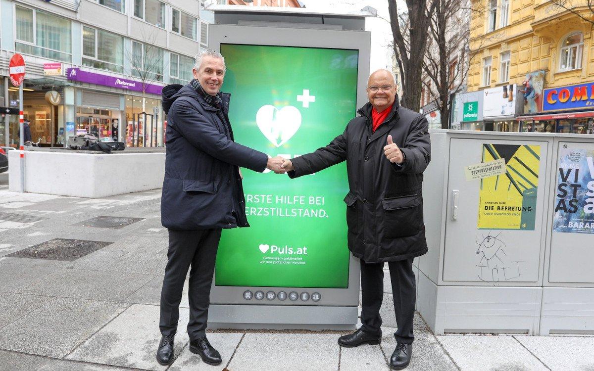 Gewista-CEO Franz Solta und Harry Kopietz Präsident des Vereins PULS (Foto: gewista)