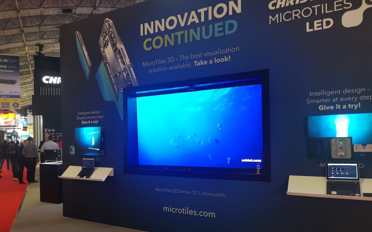 MicroTiles LED mit Active 3D sind eines der Highlights bei Christie, aber leider schwer in 2D abzubilden (Foto: invidis)