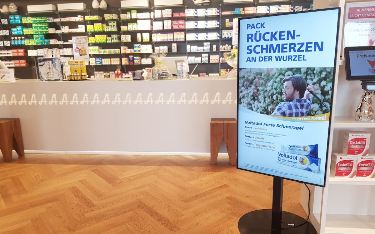 Digital Signage gewinnt für Apotheken immer mehr an Bedeutung (Foto: Retinger/Kapsch BusinessCom AG)