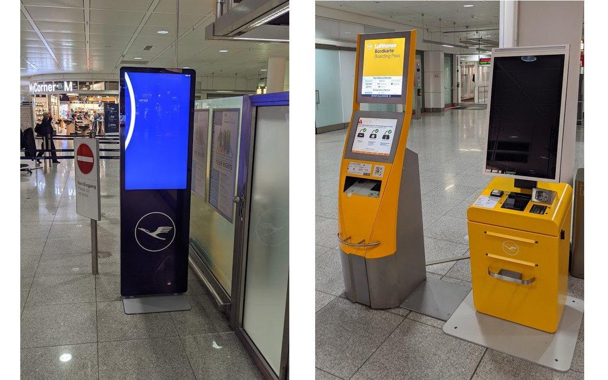 Drei Generation Lufthansa-Stelen in München (Fotos: invidis)