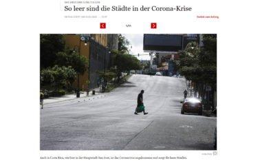 Leere Städte, abgeschaltete DooH-Screens (Screenshot FAZ)