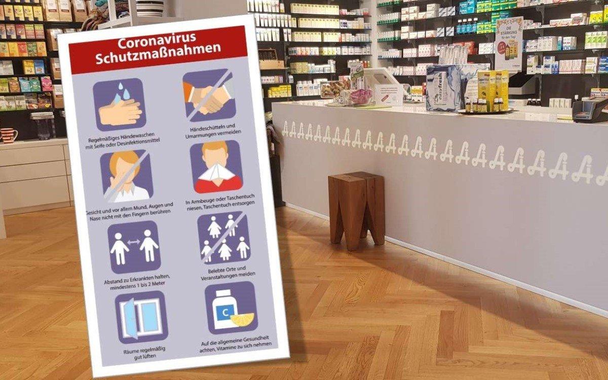 Apotheken setzten derzeit auf Digital Signage, um Kunden über Corona und Schutzmaßnahmen aufzuklären – In Österreich unterstützt mediaCon bei der Kommunikation (Foto: mediaCon)