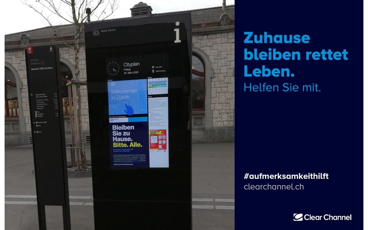Die Kampagne von ClearChannel sensibilisiert auch für das Virus und folgt den Weisungen des Schweizer Bundesrates (Foto: ClearChannel)
