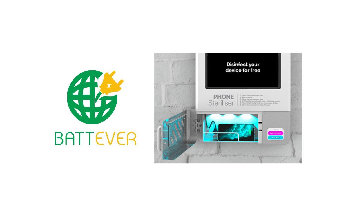 Das Board PRO-UV von Battever kombiniert Digital Signage und Ladestation und desinfiziert das Smartphone-Display während des stromtankens (Foto: Battever)