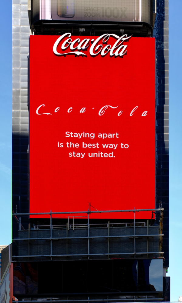 Coca-Cola Spot am Times Square in New York zu Corona (Foto: Coca-Cola/Mercado McCann)