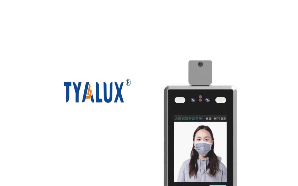 Clou der Displaylösung für die Zugangsbeschränkung von Tyalux ist Gesichtserkennung trotz Maske und die integrierte automatische Messung der Körpertemperatur (Foto: Tyalux)