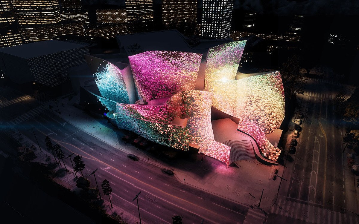 WDCH Dream Projection Mapping in Los Angeles (Foto: Refik Anadol Studio)