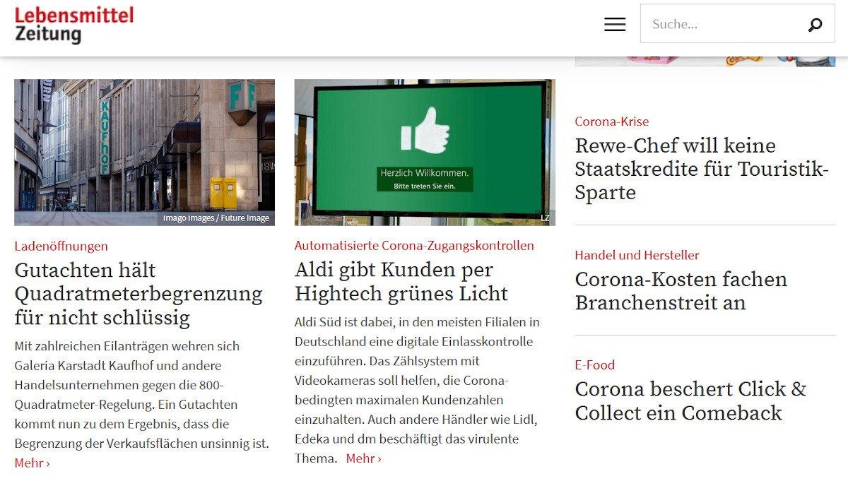 Aldi Süd setzt auf digitale Einlasskontrolle (Screenshot: Lebensmittelzeitung)