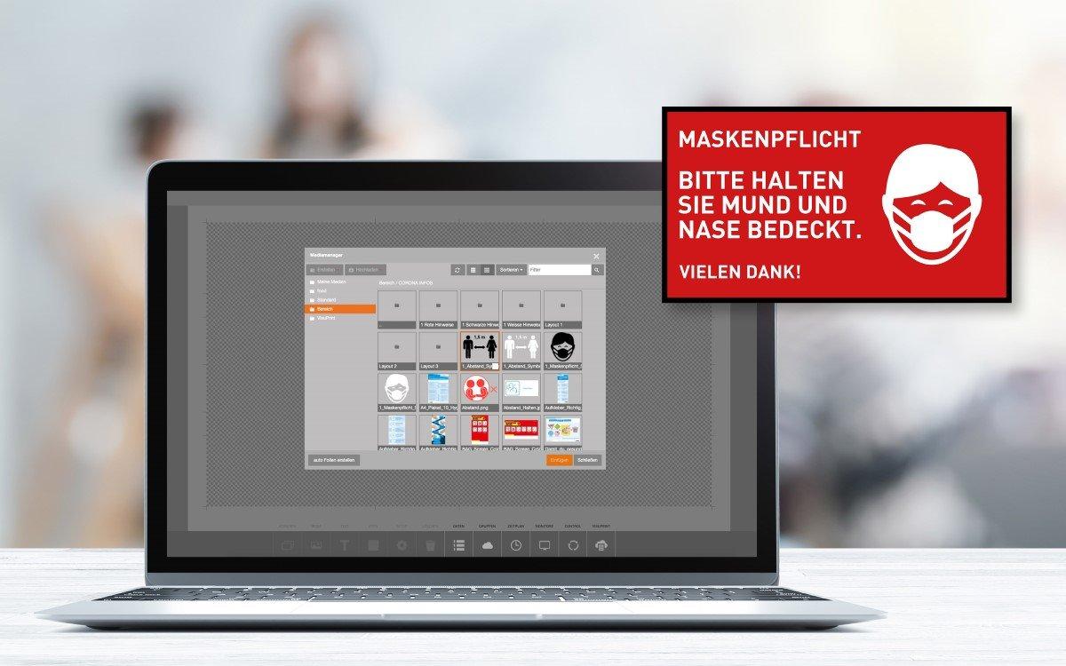In Deutschland kommt die Maskenpflicht, Wedeko bietet kostenlose Corona-Templates für Digital Signage (Foto: Wedeko)