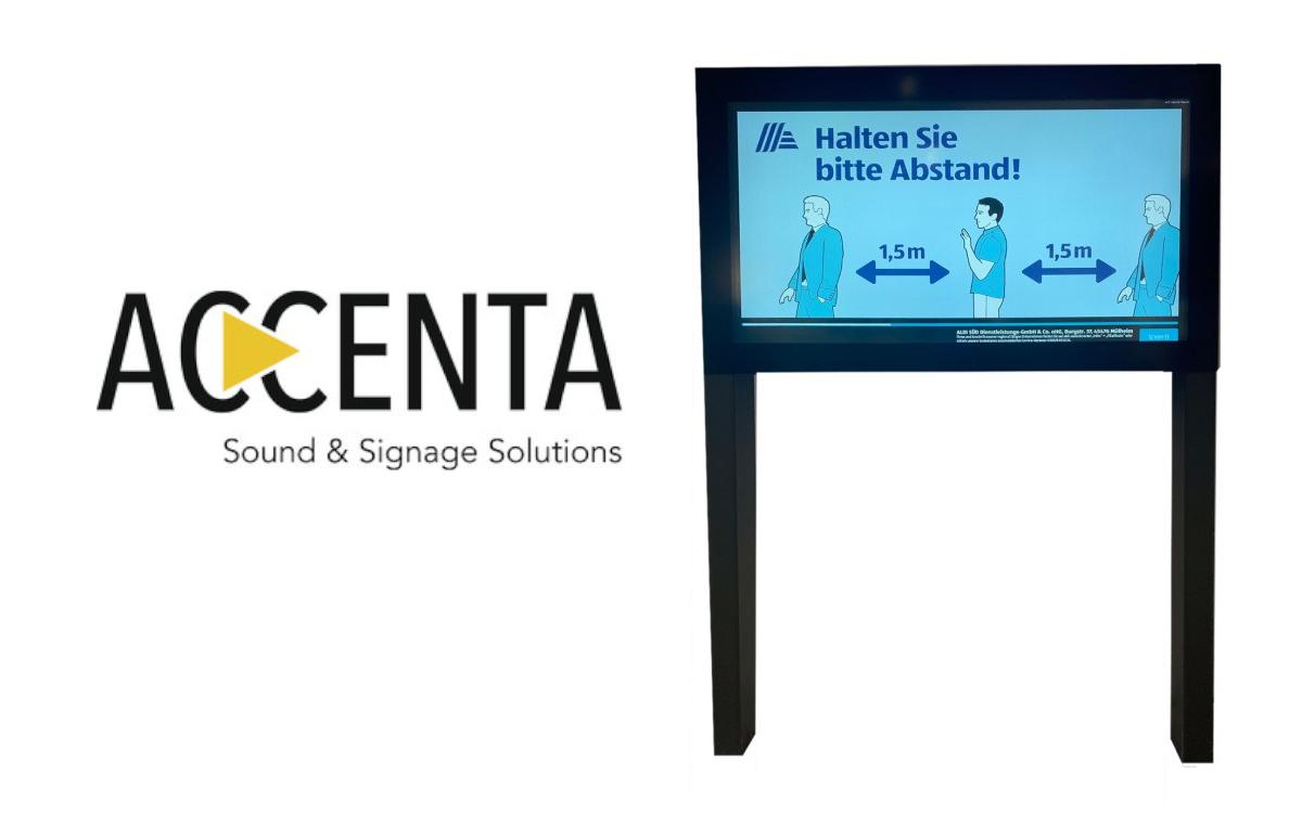 Die Accenta-Displays vor Aldi Süd-Märkten zeigen derzeit weniger Produktwerbung und dafür Gesundheitstipps für den Einkauf in Corona-Zeiten (Foto: Accenta)