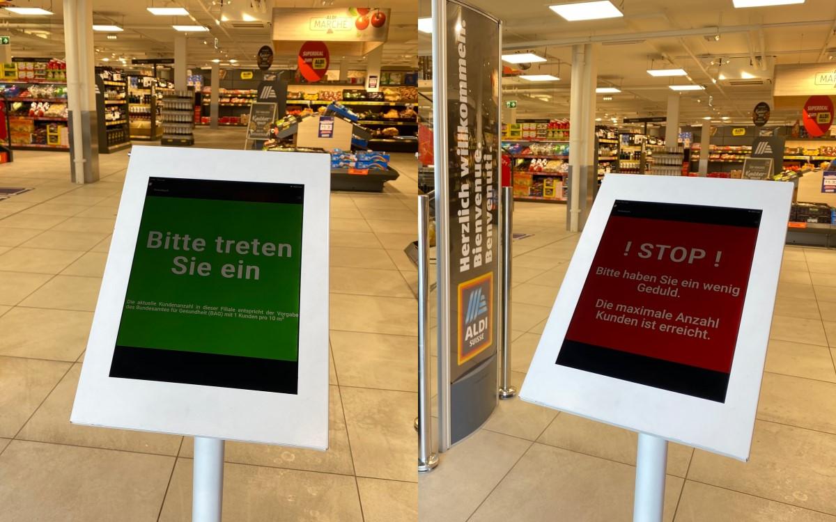 Von Grün zu Rot – Die digitalen Kundenstopper reglementieren die Anzahl der Kunden in der ALDI Suisse-Filiale über ein Ampelsystem (Foto: ALDI Suisse)