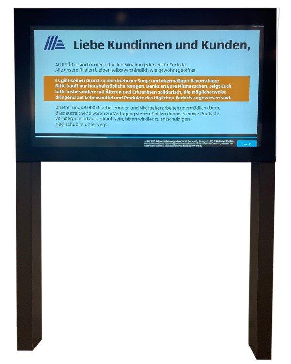 Accenta-Display mit Corona-Message für Aldi Süd (Foto: Accenta)
