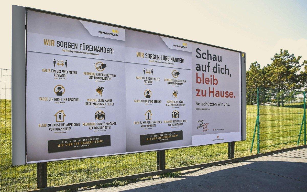 Die Epamedia Corona-Kampagne startet in Österreich auf rund 10.000 Plakaten (Foto: Epamedia)