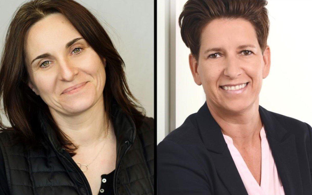 Gwenaelle Vilette (l.), Director of Sales Frankreich und Michaela Hirsch, Director of Sales Deutschland von Peerless-AV EMEA (Foto: Peerless-AV)