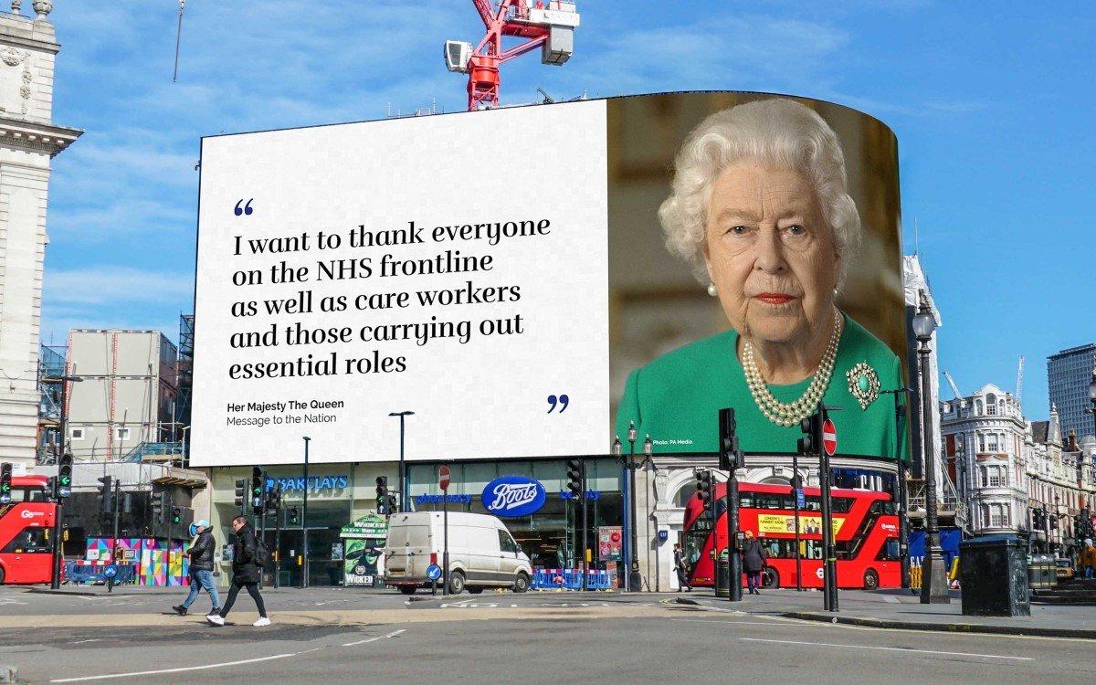Queen Elizabeth II auf den Piccadilly Lights im Herzen Londons (Foto: Ocean Outdoor)