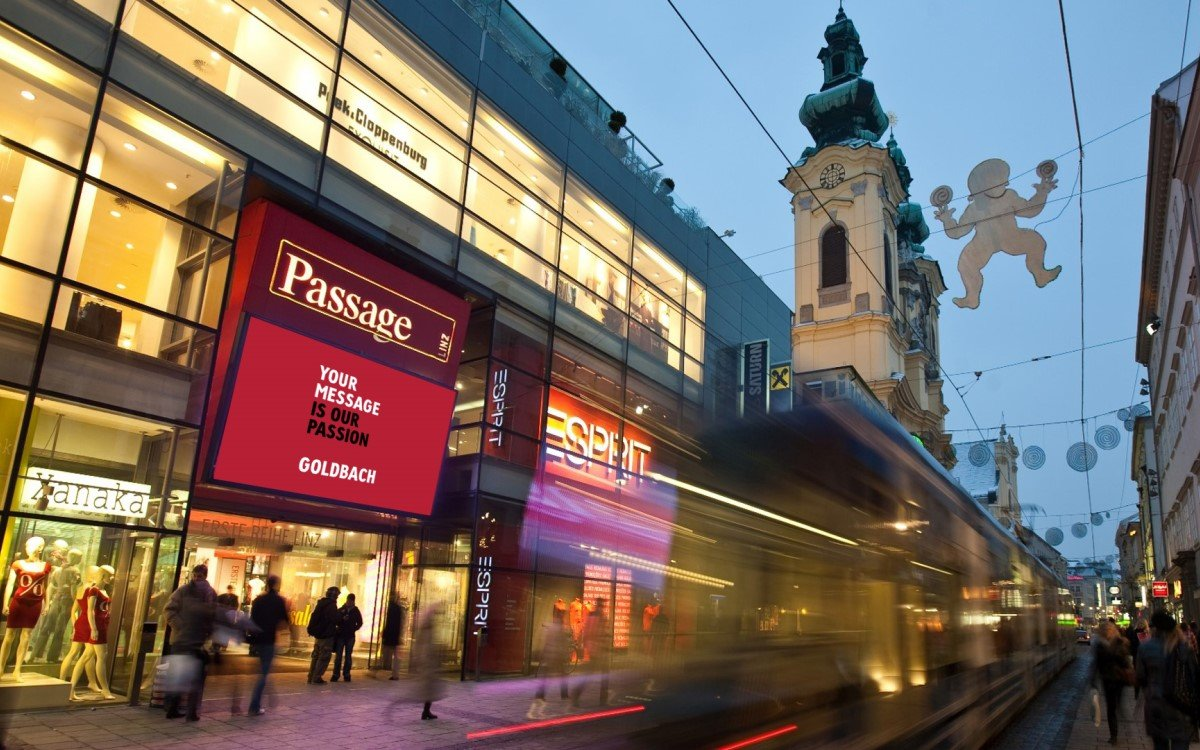 Goldbach DooH-Screen in der Passage Linz (Foto: Goldbach)