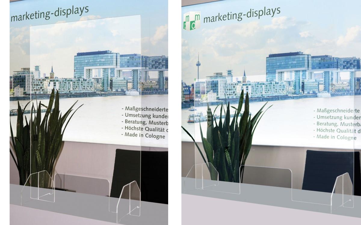 Die Hygienewand von Marketing-Displays ist im Hoch- wie Querformat sowie mit Aufhängung für die Montage an der Decke erhältlich (Foto: Marketing-Displays)