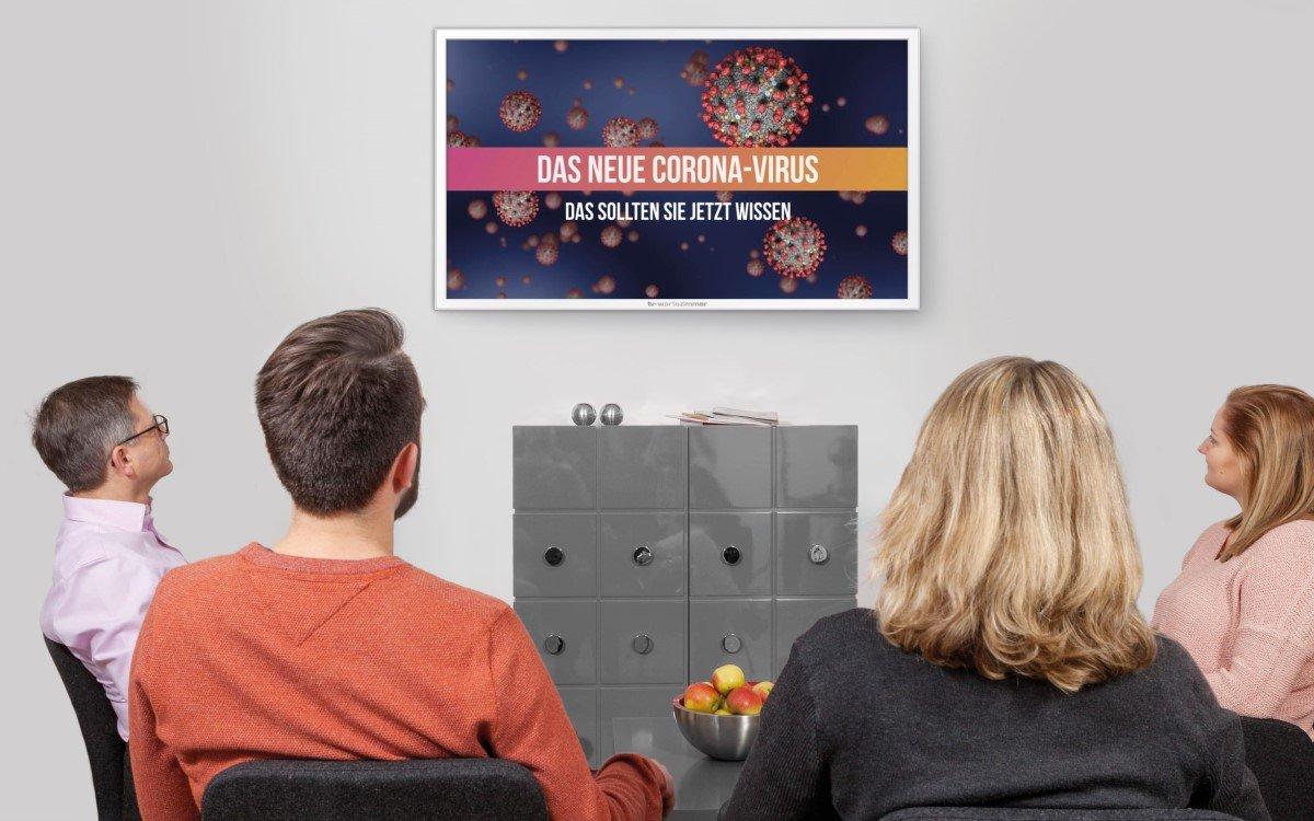 TV-Wartezimmer mit Corona-Content in einer Praxis (Foto: TV-Wartezimmer)