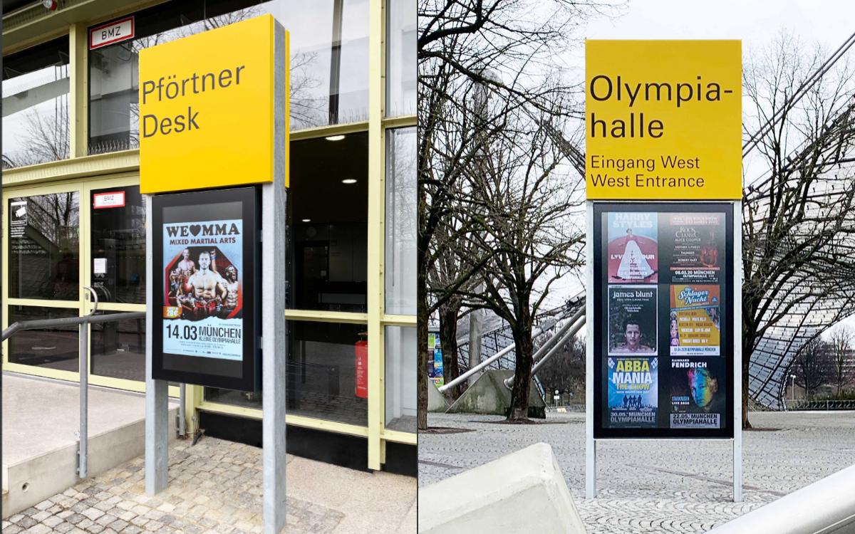 """Die Olympiahalle München digitalisiert sich mit Digital Signage-Lösungen integriert von Vangenhassend: links die 47"""" Version, rechts die XXL-Stele mit 75"""" Displays (Foto: Vangenhassend)"""