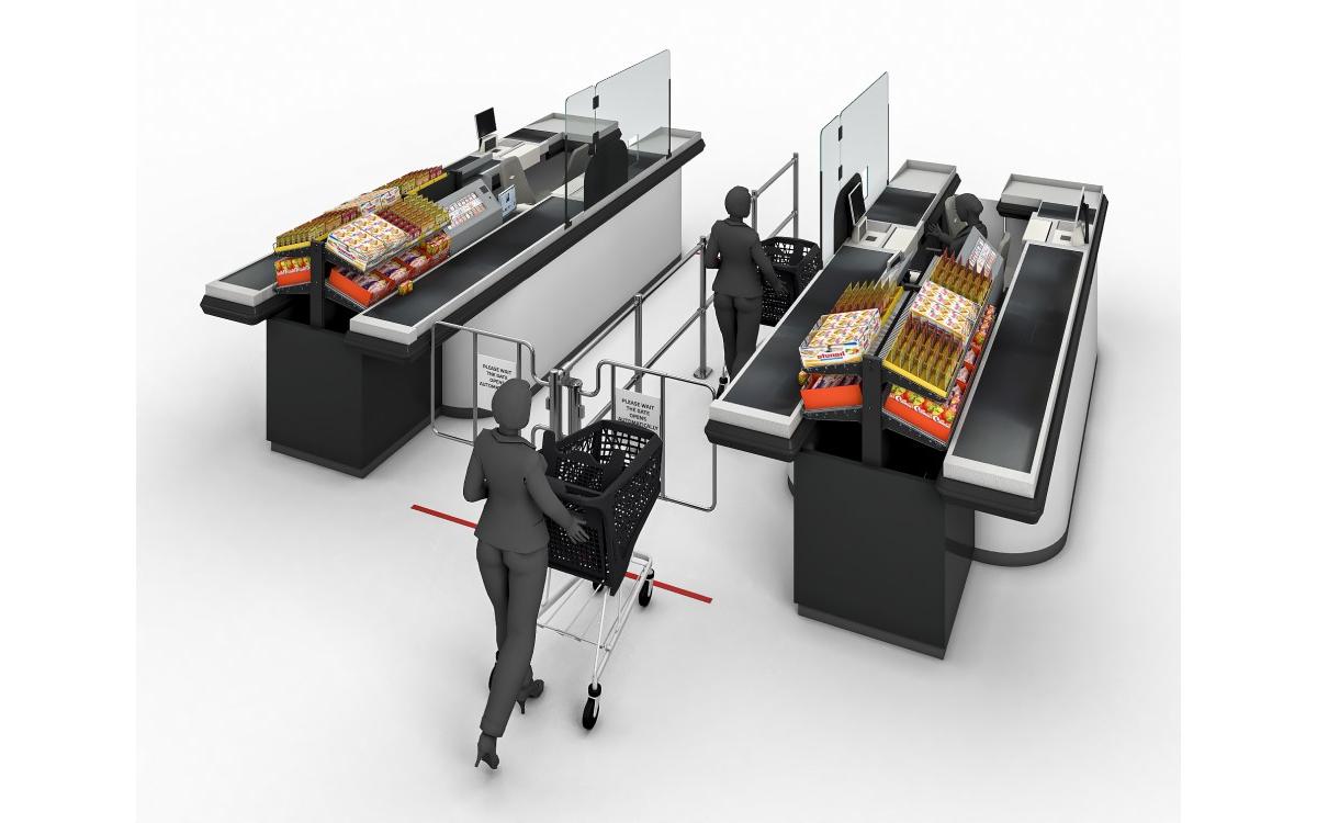 Warteschlangenmanagement: mobile Abstandsständer wie bei Passkontrollen an Flughäfen trennen Kunden, um das Infektionsrisiko zu mindern (Foto: Wanzl)
