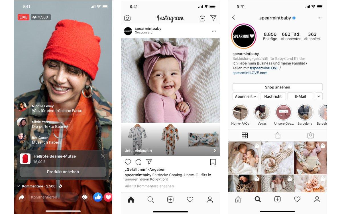Facebook Shop und Live Shopping auf Instagram (Fotos: facebook)