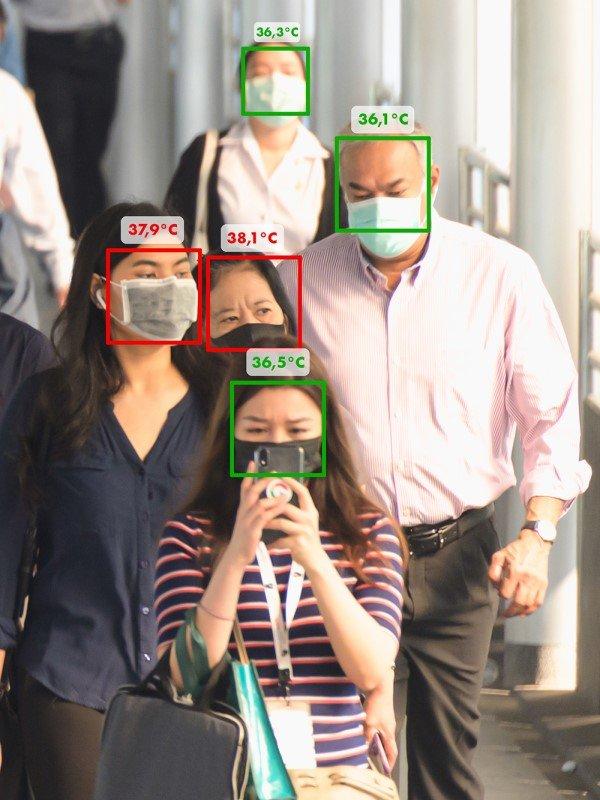 Ein Update spendiert der Kundenampel von Bütema einen Sensor zum erkennen der Körpertemperatur (Foto: Bütema)