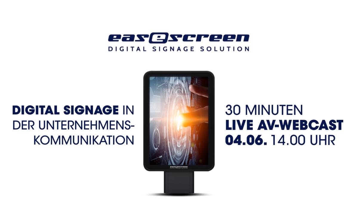 Im Rahmen der Virtual Roadshow 2020 von AV-Solution Partner laden easescreen & Pichler Medientechnik zum Webcast über Digital Signage in der Unternehmenskommunikation ein (Foto: Screenshot)
