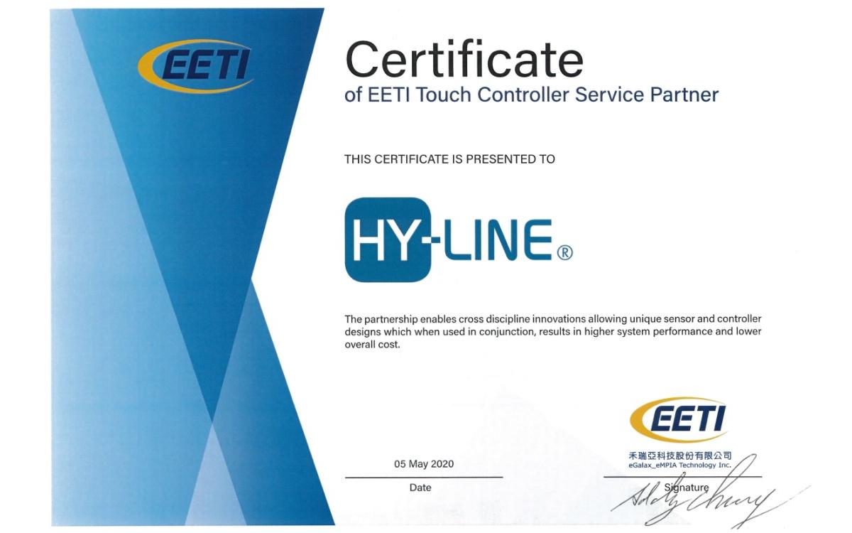 Der taiwanesische Hersteller von Controller-Lösungen für Touchscreens EETI hat die Münchner Ingeneure von HY-LINE als Touchscreen-Profis ausgezeichnet (Foto: HY-LINE)