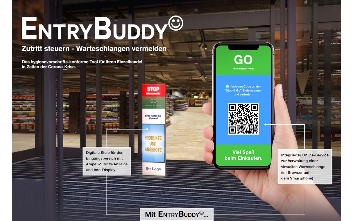 Der EntryBuddy von GREY Shopper und MuSe Content verbindet digitale Ampelstele mit App-basiertem Online-Service fürs Warteschangenmanagement (Foto: MuSe/GREY)