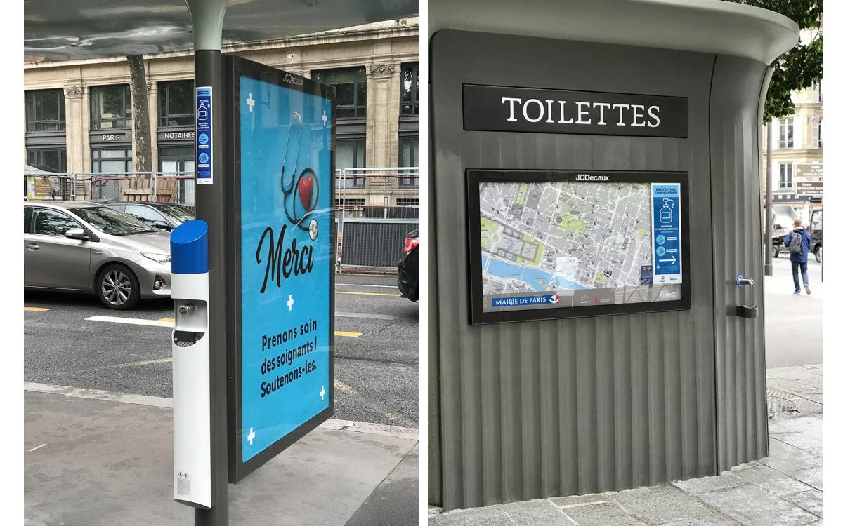 JCDecaux und Paris platzieren rund 2.000 Hygiene-Stationen neben DooH-Flächen an Bushaltestellen oder öffentlichen Toiletten (Foto: JCDecaux)