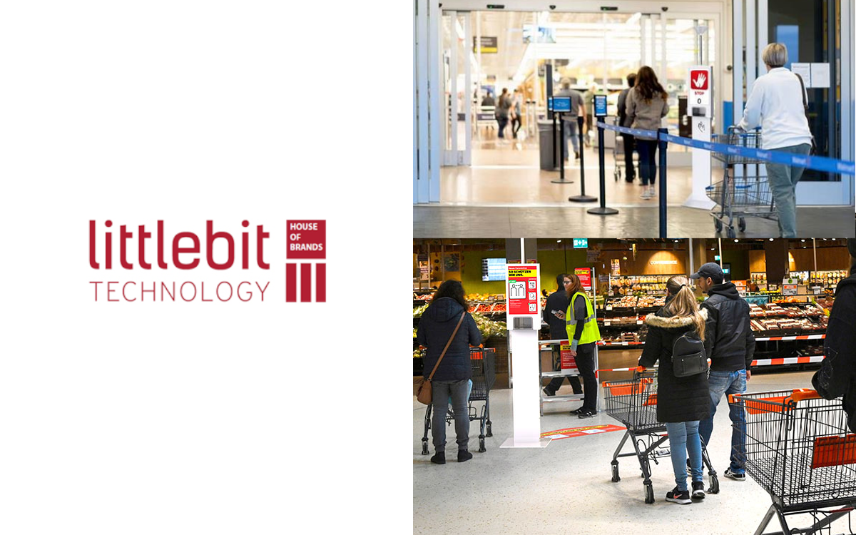 Digitale Zutrittskontrolle und Handdesinfektion kombiniert – Der Schweizer Distributor Littlebit Technology präsentiert den Axxiv Multisense Counter (Foto: Littlebit Technology)