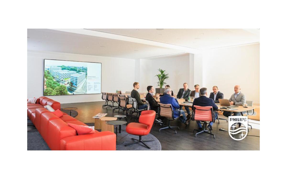 """Für Bauinnovator HARFID installierte Philips eine superhelle 165"""" Videowall (Foto: Philips Display Solutions)"""