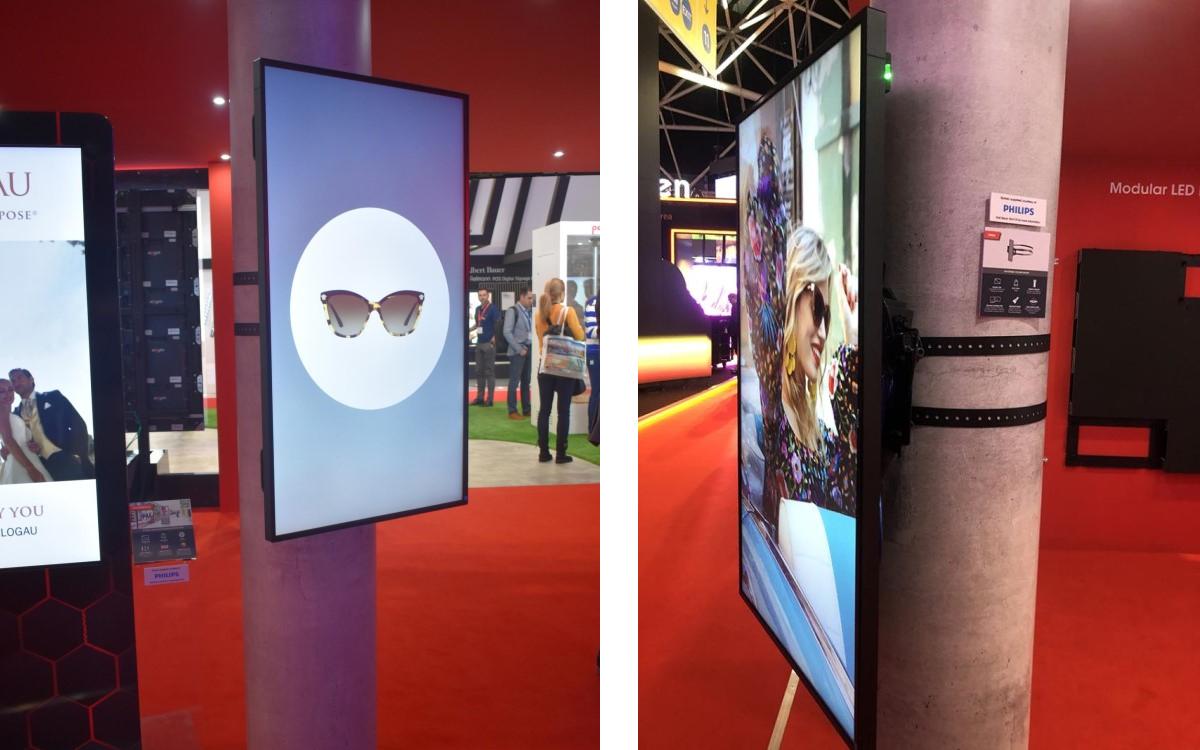 Die neue Rundsäulenhalterung CMAL von Peerless-AV eignet sich für die Installation von Signage Displays in Arenen und Stadien oder eben überall, wo es runde Säulen gibt (Foto: Peerless-AV)