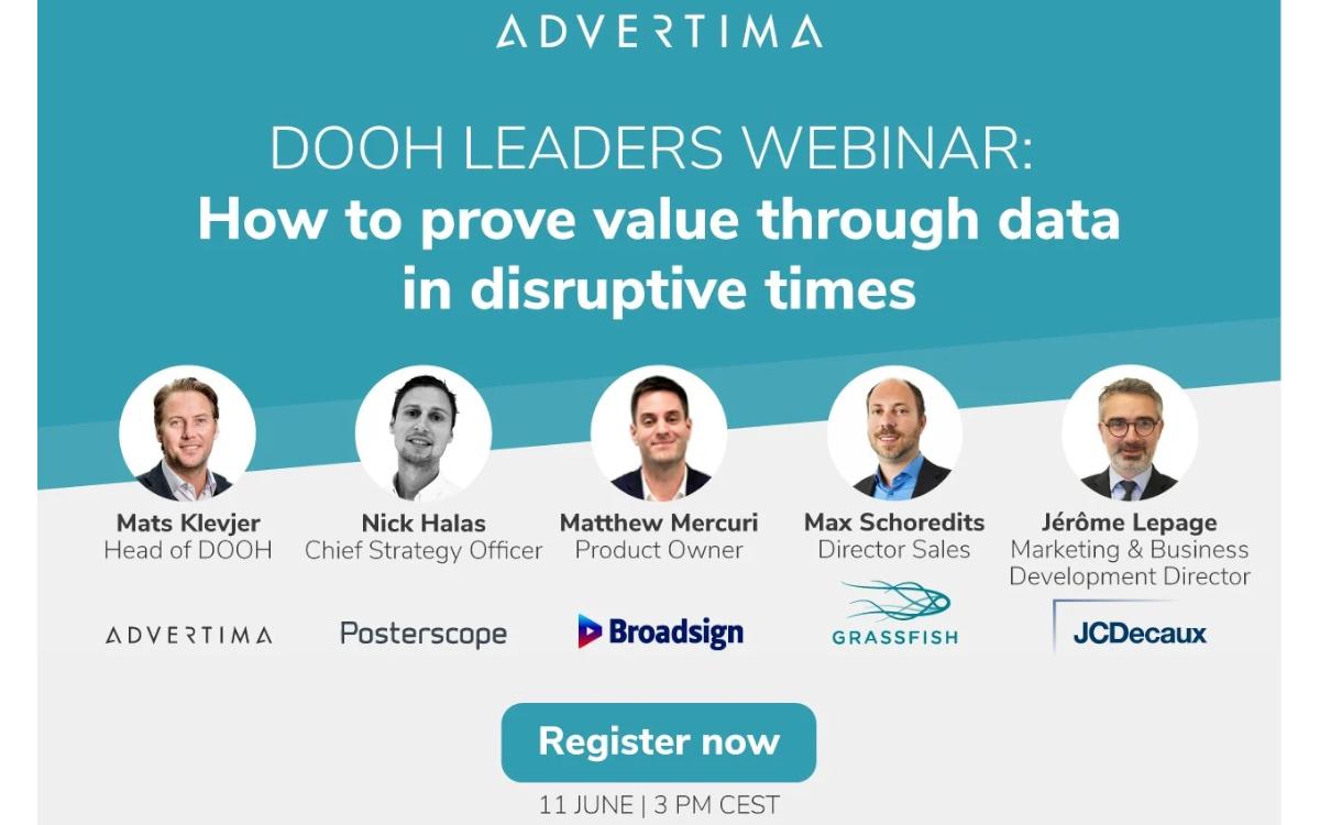 Am 11. Juni lädt Adverrtima zum DooH-Leaders Webinar mit bekannten Namen der Branche zum Thema: Wie können Daten den Wert von DooH in schwierigen Zeiten nachweisen? (Foto: Advertima)