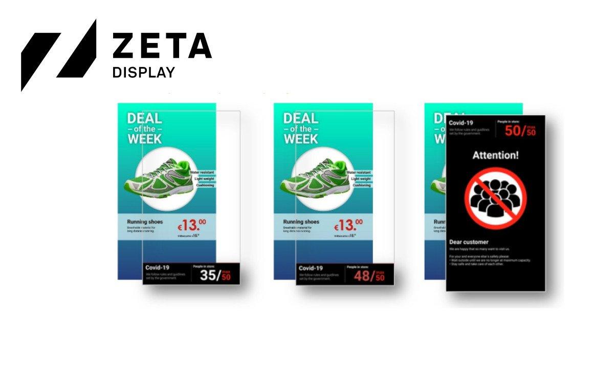 Je nnäher die maximale Kundenzahl im Shop rückt, desto auffälliger ändert das neue Access-Control-Widget von ZetaDisplay sein Design und übernimmt schließlich das ganze Display (Foto: ZetaDisplay)