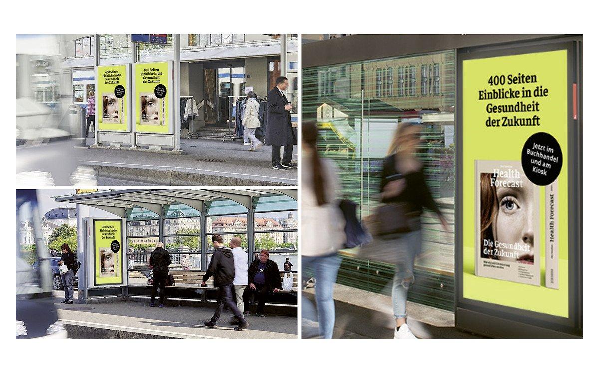 Programmatische DooH-Kampagne von APG für Sanitas (Fotos: APG)