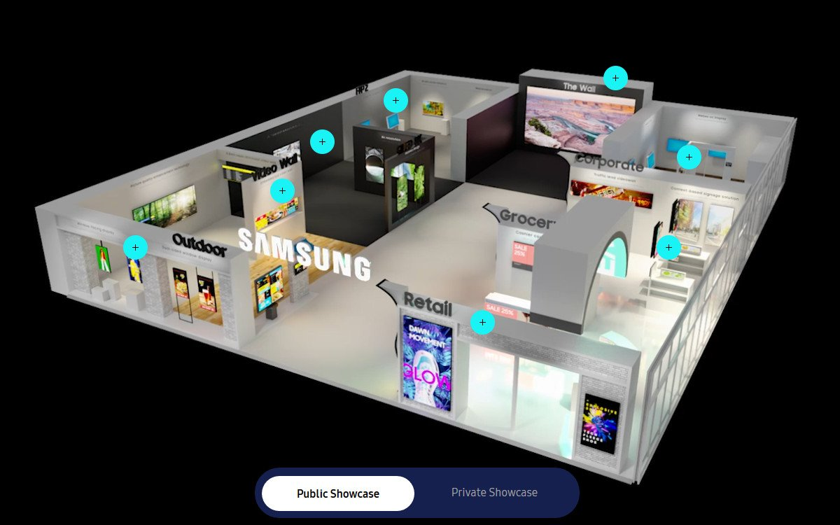 Virtueller ISE-Messestand von Samsung (Foto: Screenshot)