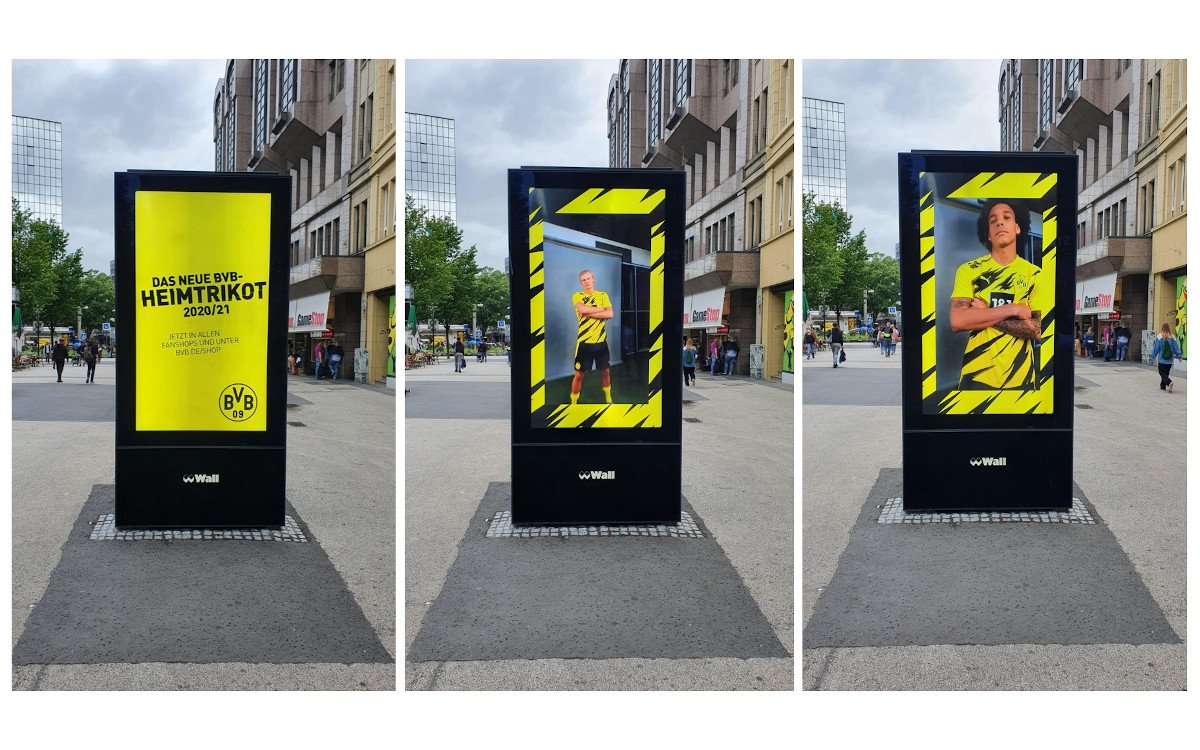 Neue BVB-Trikots auf Wall-Screens (Foto: Wall AG)