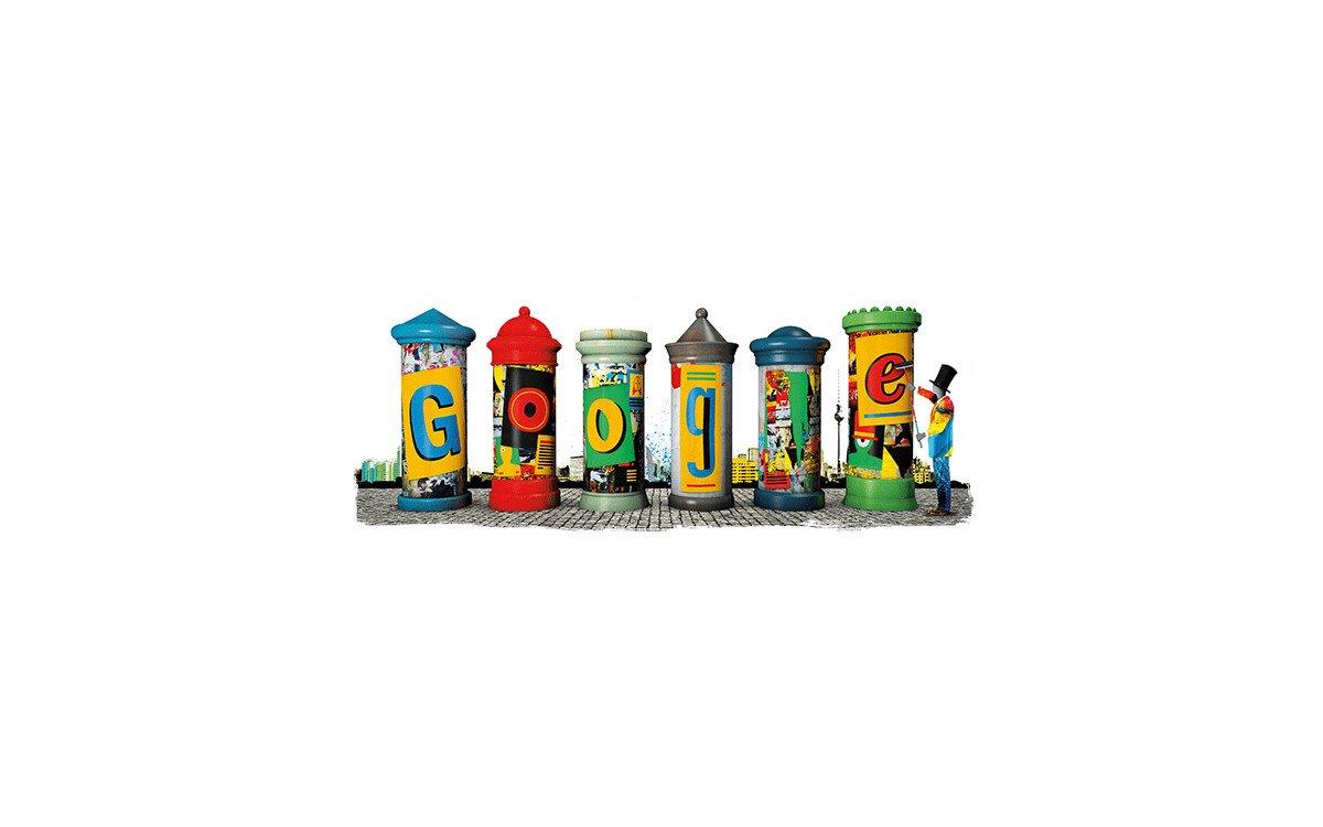 Google Doodle zum Geburstag der Litfaßsäule (Foto: Google)