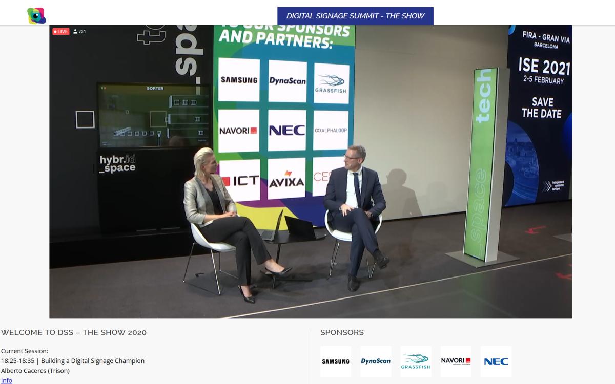 Live im Stream: Laila Hede Jensen, CCO von Integrator ZetaDisplay und Florian Rotberg von invidis Consulting im Gespräch beim DSS 2020 - The Show (Foto: invidis)